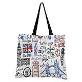 LDIYEU Arte De La Torre De Londres Bolsa Compra Reutilizables Bolsas de Mano para Trabajo Escuela Comestibles Plegables de Playa para Mujeres Niñas