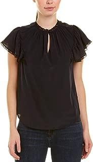 Womens Lace Silk Top, 2 Navy/Black