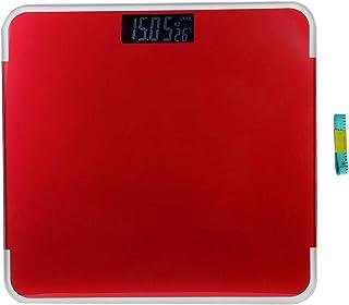 Nikou Báscula de Grasa Corporal: Escala de Peso Digital LED electrónica Inteligente para el hogar para una medición precisa del Peso(Rojo)