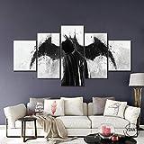 L&WB Impressions sur Toile, Autocollant Mural Mural Modulaire, 5Pcs Mural, Chevalier Foncé Batman, avec Cadre,XL