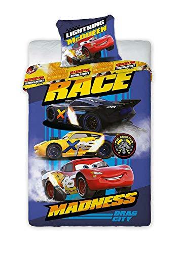 Juego de ropa de cama para niños (2 piezas) Cars McQueen Cruz Ramirez Race Jackson Storm - Juego de funda de cojín (140 x 200 cm, algodón), diseño de Cars