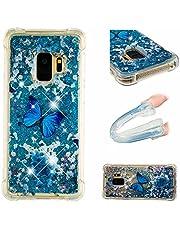 Ttimao Compatible con Funda Samsung Galaxy S9 Flotante Glitter Brillante Liquid Quicksand Case Cristal Suave Silicona TPU Cuatro Esquinas Anti-Caída Cáscara-Mariposa Azul
