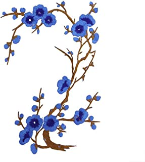 Bomcomi Plum Blossom Flower Patch Flower Applique Clothing Flower iron-on Embroidery Fabric Sticker Patch Iron-on Or Sew-on Patch blue