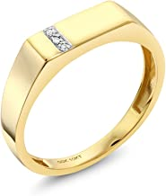Gem Stone King 10K Solid Yellow Gold Men's White Diamond Wedding Anniversary Ring (Available 7,8,9,10,11,12,13)