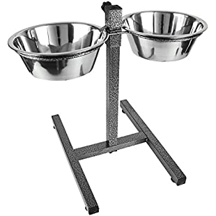 Large Dog Elevated Food Bowl Holder Set - Raised Cat Feeding Station Stand - Adjustable Height Pet Double Feeder - 2 Stainless Steel Water Bowls