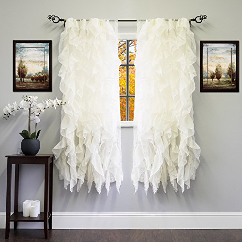"Sweet Home Collection Sheer Voile Vertical Ruffled Window Curtain Panel, 63"" x 50"", Ivory, 2 Count"