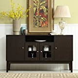 Mixcept 60' Modern Solid Wood Sideboard Buffet Table Storage Cabinet Tall Console Table with 4 Doors, Espresso