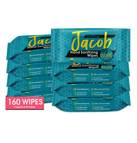 Pullio - Jacob, Faith Hand Cleaning Wipes |Extra Thick Durable Wipes | Citrus & Mint Scent (Jacob 160 (8pks))