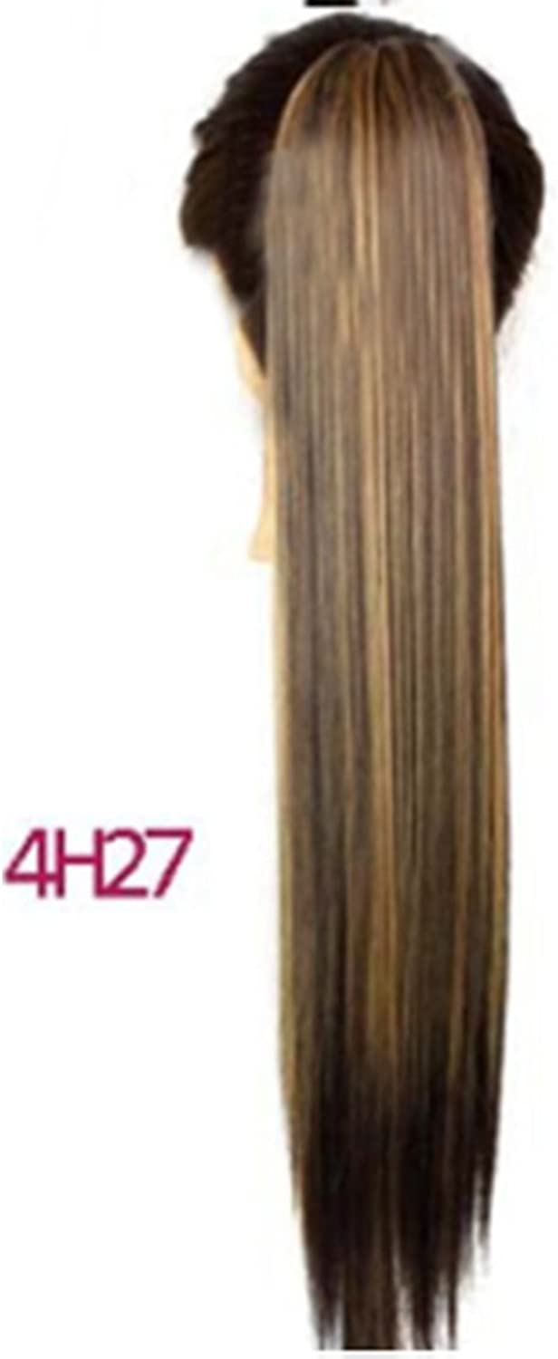 Fashian Synthetic High Temperature Hairpieces for Women Straight Ponytail Claw Clip Long Straight Hair Extension Lenght for 24inch 150g DIY Fun (color   4H27 )
