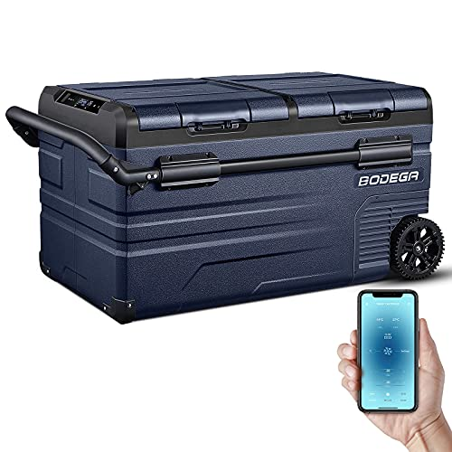BODEGA 12 Volt Car Refrigerator, Portable Freezer, Car Fridge Dual Zone APP Control, 80 Quart(75L -4℉-68℉ RV Electric Compressor Cooler for Outdoor, Vehicles, Camping and Travel,12/24V DC and 100-240V AC