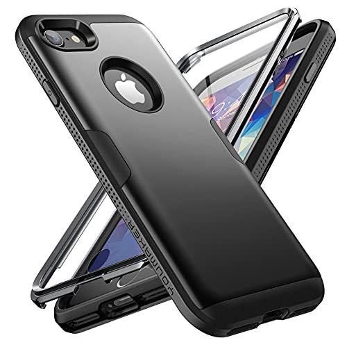 YOUMAKER Funda Compatible con Apple iPhone 8, Carcasa Resistente con Protector de Pantalla Integrado, Carcasa Protectora Antigolpes para iPhone 7 de 4,7 Pulgadas, Negra