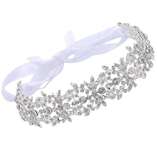 ArtiDeco Braut Haarband Silber Kristall Blinkender Braut Haarschmuck Handgefertigtes Vintage Braut Stirnband geeignet für Hochzeit und Party