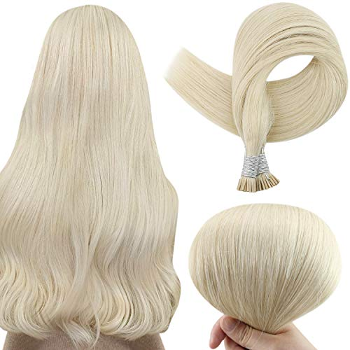 I Tip Hair Extensions 16 Inch Remy Fusion Hair Extensions Color 60 Platinum Blonde Soft Straight Hair Keratin Hair Extensions Extensions 0.8 Gram Strand Italy Keratin 50 Strands for Woman