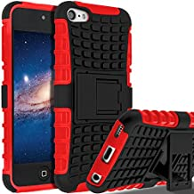 iPod Touch 7 Case,iPod Touch 6 Case,iPod Touch 5 Case, SLMY(TM) Heavy Duty Dual Layer Shockproof Hybrid Rugged Cover Case with Built-in Kickstand for Apple iPod Touch 5 / 6 / 7 Red