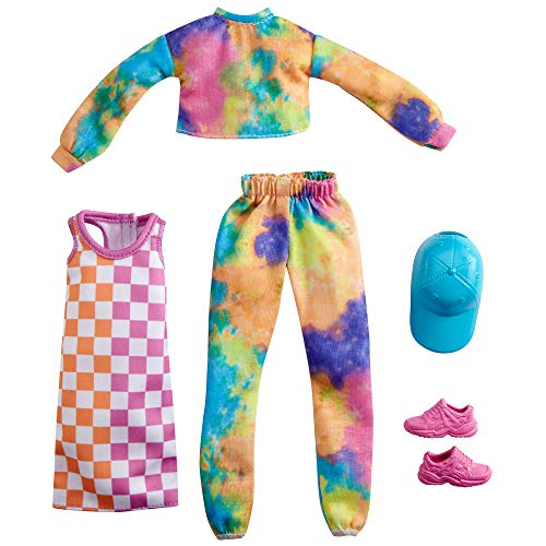 Barbie Fashions 2-Pack Clothing Set, 2 Outfits Doll Include Tie-Dye Joggers & Sweatshirt, Checked Dress, Blue Cap & Pink Sneakers, Gift for Kids 3 to 8 Years Old