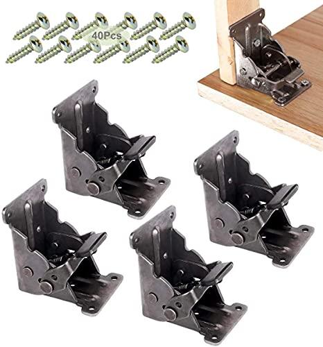TopDirect 4 Piezas Mensula plegable para Pata de Mueble Bisagra Consola plegable para Mesa plagable, 63x68x54mm