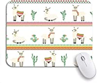 ROSECNY 可愛いマウスパッド アルパカラマとサボテンストリップアマテックパターンラマノンスリップゴムバッキングマウスパッドノートブックコンピューターマウスマット