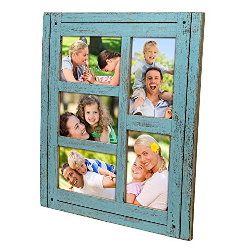 Excello Global Products Collage Picture Frames from Rustic Distressed Wood: Holds Five 4x6 Photos - EGP-HD-0087