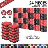 Lot de 24 acoustique pyramidale Home Studio Traitement panneau mural 25 x 25 x 5 cm SD1034