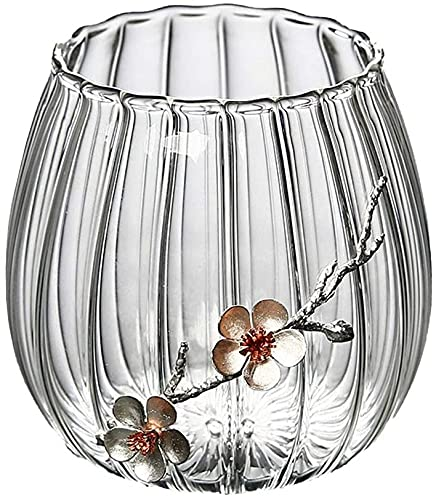 HZYDD Jarrón de cristal transparente para salón, mesa de café, dormitorio, decoración...