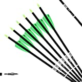 PG1ARCHERY 30 Inch Carbon Arrow Fletched 3' Shield Cut Vanes Archery Practice Target Hunting Arrows with Removable Field Points for Compound & Recurve Bow Black Green, 12 Pack