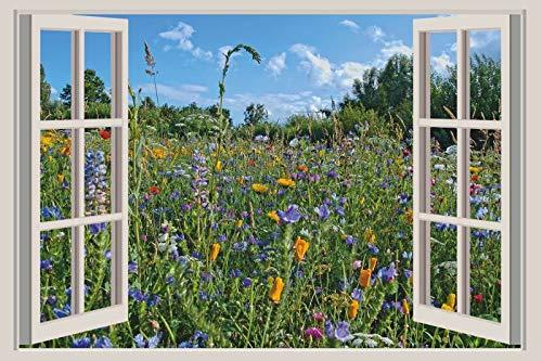 Generisch ExklusiveFolien 3D Wandsticker Blumenwiese Wandtattoo Wandbild Aufkleber Optik Ausblick Sticker 150 x 100 weißer Fensterrahmen