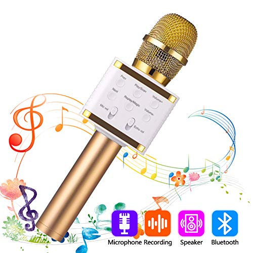 SaponinTree Wireless Bluetooth Karaoke Microphone, 3-in-1 Portable Handheld karaoke Speaker Mic Machine, Birthday Gift Home Party Speaker Machine for iPhone/Android/iPad/Sony/PC (Gold)