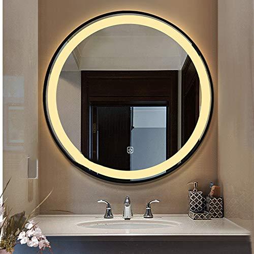 BAIHAO Espejo de baño con Marco Negro con luz LED de Dos Colores Espejos de Maquillaje Redondos Impermeables con Toque Inteligente montado en la Pared para Inodoro