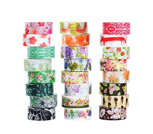 Set di nastro per mascherare Washi di 24, Collezione di nastro adesivo decorativo, Nastro per bricolage artigianato e regali