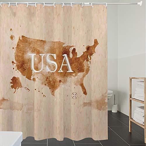 Rideau de Douche Tissu Anti moisissure Imperméable,Americana, Carte rétro-américaine du Pays du sud-Ouest et de l'Alaska imprimée, Pér,avec 12 Anneaux Crochets 100% Polyester de Salle de Bain Imprimé