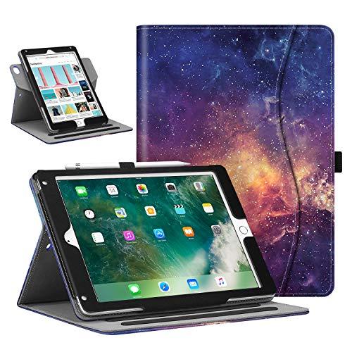 Fintie Coque pour iPad 9.7 2018 2017/ iPad Air 2/ iPad Air avec Pencil Holder - Housse Étui de Protection Réglable à 360 Degrés avec Poche et Fonction Veille/Réveil Automatique, Galaxy
