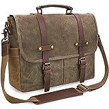 Newhey Mens Laptop Shoulder Canvas Messenger Bag Waterproof Computer Briefcase Notebook Vintage Satchel