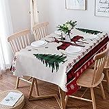 Mantel rectangular de Navidad de 152 x 264 cm, para decoración de mesa, diseño de copos de nieve de Navidad, árbol de Navidad, cuadros de búfalo, color rojo