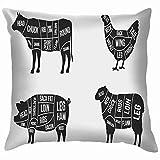 Yuanmeiju Set Meat Diagrams Cuts Meat Cow Animal Animal Throw Pillow Covers Funda de Almohada