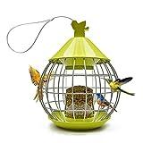Aobp Comedero para pájaros, estación de alimentación automática, para aves silvestres, comedero para pájaros, pajarera, de plástico, comedero, redondo, con techo