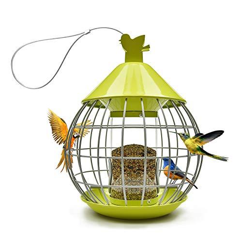 Grandisk Vogelfutterspender Vogelfutterstation Futterstationen für Wildvögel Futterautomat für Wildvögel-Futterspender zum Aufhängen Vogelfutterhaus Vogelhaus Futterhaus Futterstelle Rund mit Dach