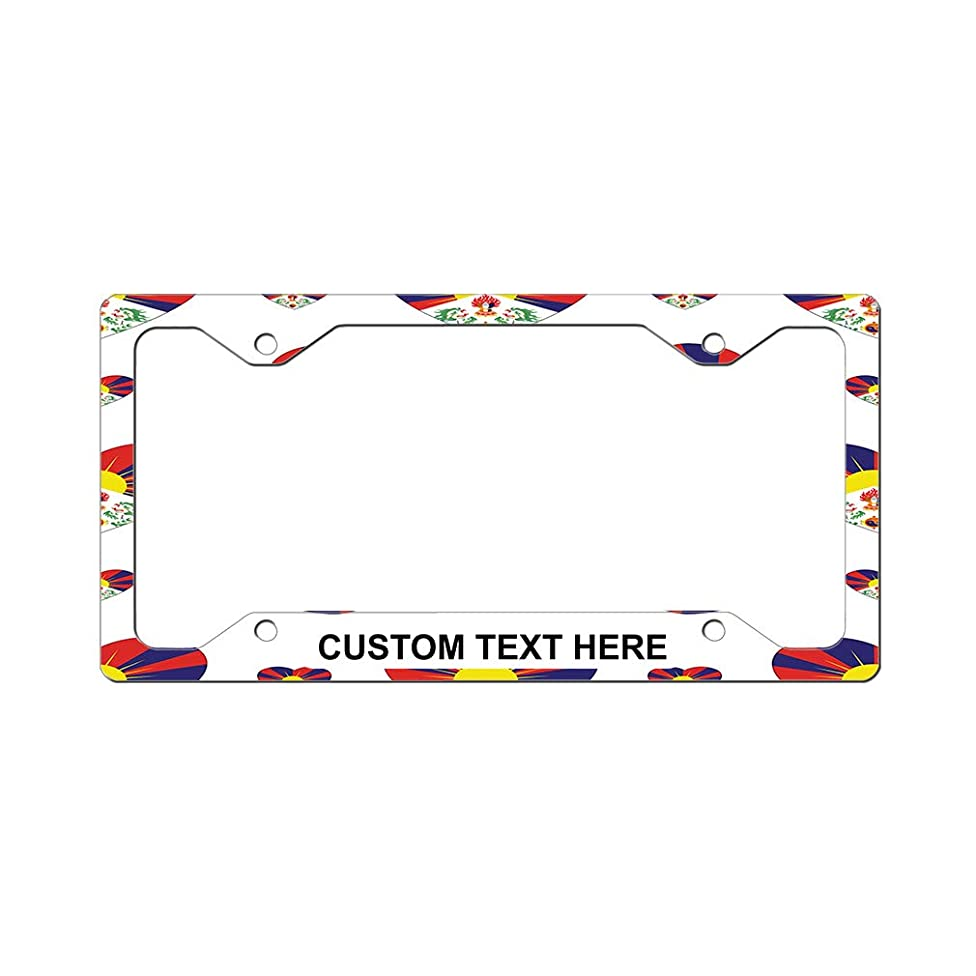 Style In Print Custom License Plate Frame Tibet Country Flag Hearts Aluminum Cute Car Accessories Narrow Top Personalized Text Here One Frame
