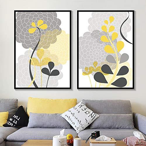 liwendi Patrón Floral Moderno Mamá Moderno Planta Gris Carbón Amarillo Floral Lienzo Pintura Pared Artista Residencia Decoración 40 * 50 Cm * 2