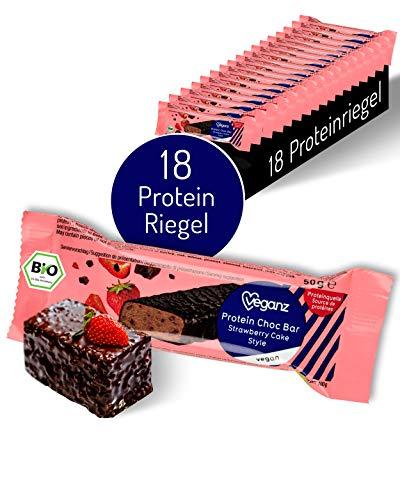 Veganz BIO Protein Choc Bar Strawberry Cake Style - Eiweißriegel Vegan Proteinreich Cremige Erdbeere Schokolade - 18 Vegane Proteinriegel je 50g
