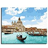 DBDSZYH Paint by Number Kits,DIY Hand Painted Paint by Numbers Digital Oil Painting Rower Water City House Building Modern Abstract Wall Art Pictures for Living Room Home Decor