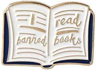 HUAhuako Enamel Brooch Pin, Women English Words Banned Read Books Collar Badge Jewelry for Clothes Bags Backpacks
