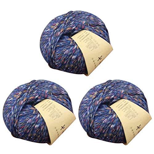WAHSBAG 3 rollos de 50 g tejido a mano de alpaca colorido suave ganchillo bebé caliente DIY tejer...