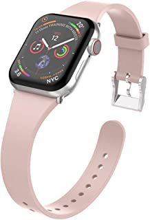 UooMoo Compatible with Apple Watch Band 38mm/40mm/42mm/44mm Series 1/2/3/4, Slim Silicone Sport Strap Replacment for 38mm/42mm iWatch1/2/3 40mm/44mm Smart Watch 4
