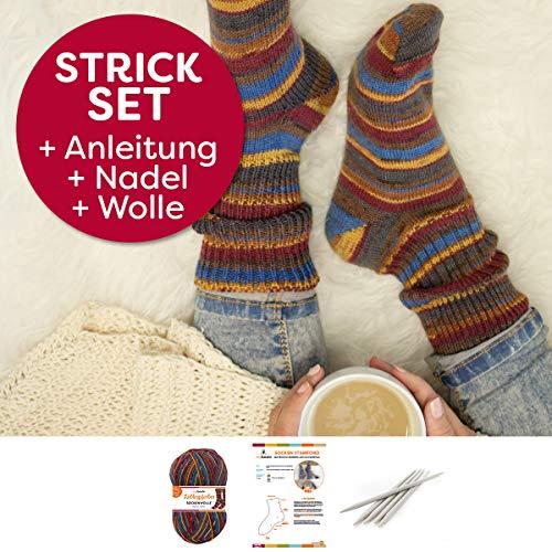 myboshi Socken Strick-Set   Lieblingsfarben Sockenwolle   4-fädig und filzfrei   mit Stricknadeln   Monika Müller