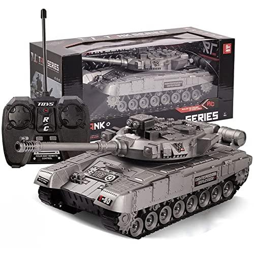 GRTVF Tanque de control remoto de 4 canales for niños vehículo militar cargable con DIRIGIÓ Luz Rc Camión de tanques del ejército, torreta giratoria de 75 °, modelo militar eléctrico for niño de 3 a 8