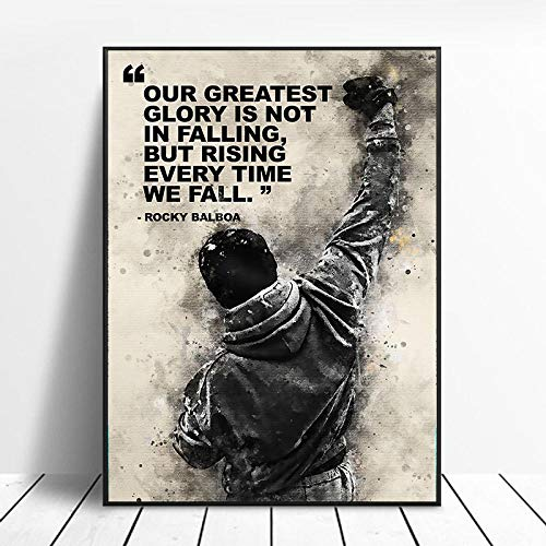 OCRTN Black White Rocky Balboa Boxe Stampa su Tela Poster e...