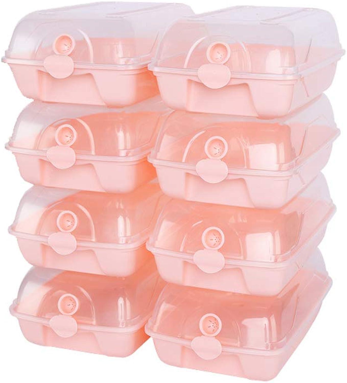 LIAN Thick Transparent shoes Box Free Combination Storage Box Simple Dust Proof Plastic Finishing Case 8pcs (color   Pink)