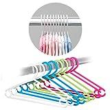 LaLoona - Set 22 Perchas de colores para bebés y niños - Perchas infantiles de plástico de alta calidad que ahorran espacio - blanco/verde/azul/rosa