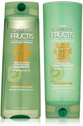 Garnier Fructis Sleek & Shine Zero - Fortifying Shampoo & Conditioner Set With Marula Oil - Zero Silicone - 12.5 FL OZ (Shampoo) & 12 FL OZ (Conditioner) - One Set