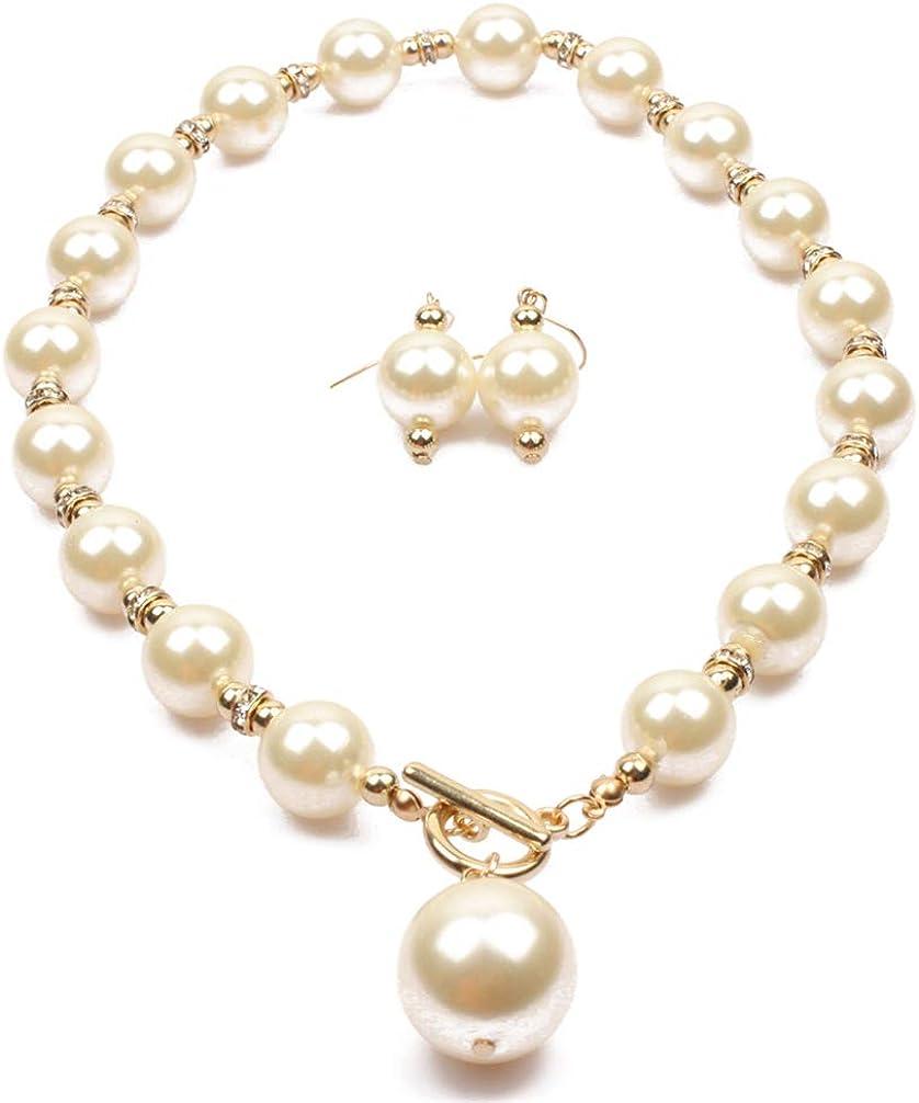 Thkmeet Simple Elegant Faux Pearl Choker Pendant Necklace Earrings Set